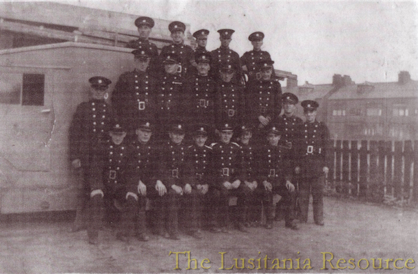 Bootle auxiliary fire service, John O'Connell is seated on the extreme right.